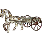 "19th century 5 1/2"" Cast Iron Toy Horse & Cart with Rolling Wheels"