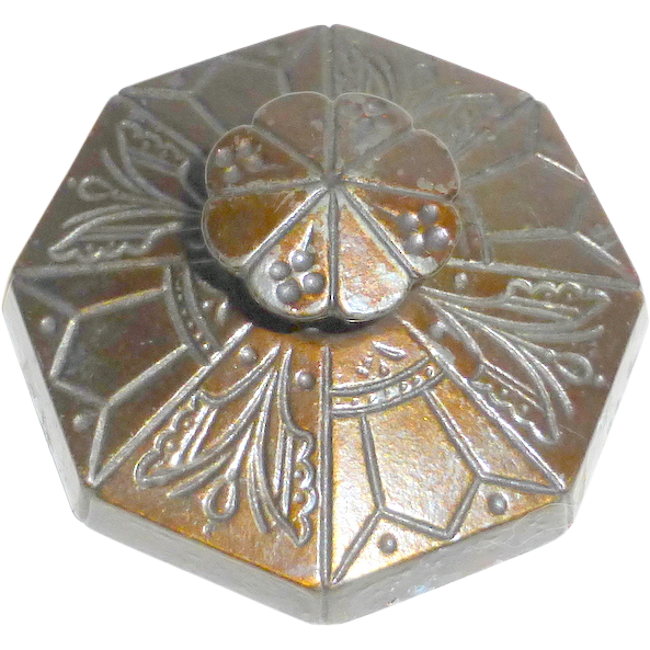 """Art Nouveau Flowers Insects 3"""" Ornate Cast Iron Octagon Paperweight"""