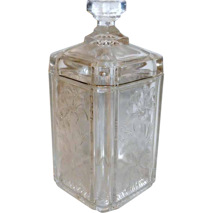 """Victorian Era 6 1/2"""" tall Covered Clear Glass Floral Embossed Vanity Jar"""