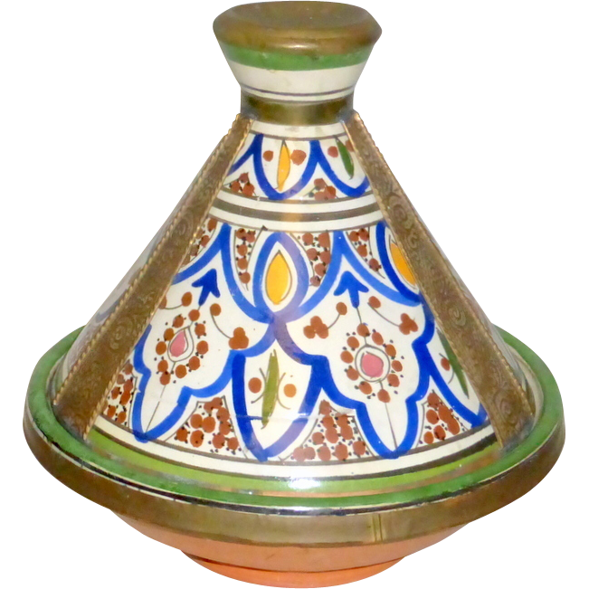 Antique Morocco Hand Painted Pottery & Stamped Metal SAFI Tajine Cooking Pot