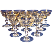 "10 Vintage Ramsey 7334 Hawkes 5"" Champagne / Tall Sherbet Crystal Glasses"
