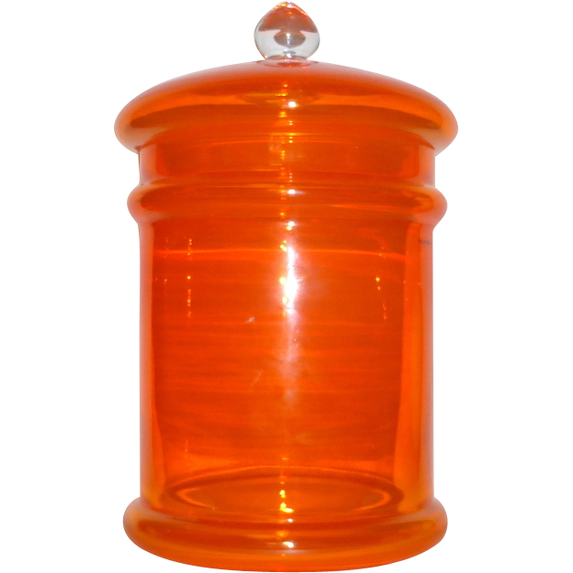 """Vintage Hand Made Poland Bright Orange Glass 13 1/2"""" tall Apothecary Covered Jar"""