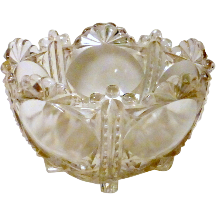 "Antique 19th century Ornate Clear Cut Glass 8"" Fruit / Dessert Serving Bowl"