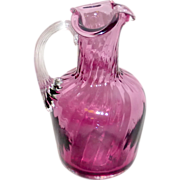 "Vintage Cranberry or Amethyst Swirled & Blown Glass 5"" Cruet"