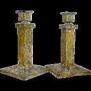 Antique Bradley & Hubbard Arts Crafts Cast Iron Primitive Candle Sticks