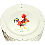 12 Vintage 1950's Taylor Smith Taylor Hand Painted sgnd Crowing Rooster Plates