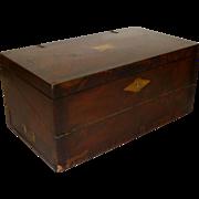"Antique 19th Century 22"" Folding Wood Lap Travel Writing Desk 14 Compartments"
