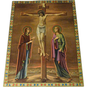 "Antique 16"" German Chromolith Print Jesus Crucified Mary & John at Foot of Cross"