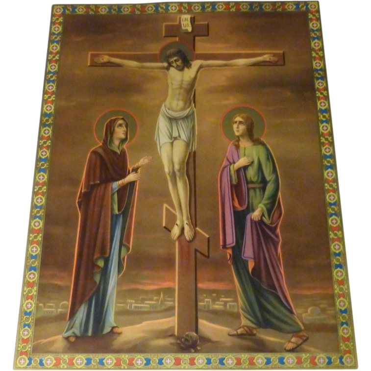 """Antique 16"""" German Chromolith Print Jesus Crucified Mary & John at Foot of Cross"""
