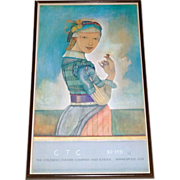 "Vintage Mpls. Children's Theater Company 1980-81 Framed 33"" SR Poster ~ Girl with Acorn"