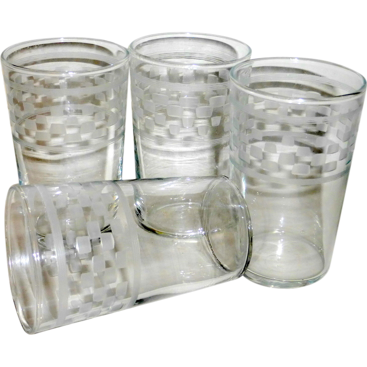 """4 Vintage 1920 Art Deco Hand Cut Etched & Frosted 3 1/2"""" Clear Drinking Glasses"""