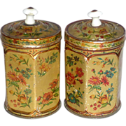 "Rare Pair of Children's 4"" Antique Hexagon Floral Tin Canisters Porcelain Knobs"