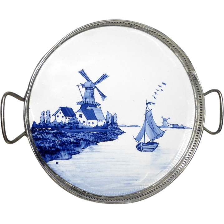 Early 1900's Germany Hand Painted Porcelain Tile Tray & Coaster Set - Windmills