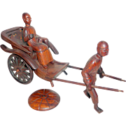 "Vintage Hand Carved Rosewood 10"" Chinese Rickshaw with Coolie & Lady"