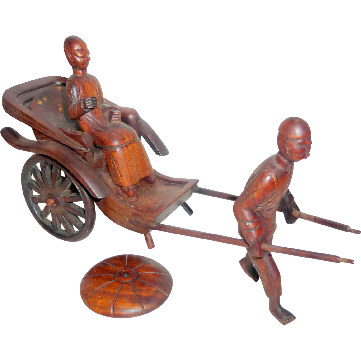 """Vintage Hand Carved Rosewood 10"""" Chinese Rickshaw with Coolie & Lady"""