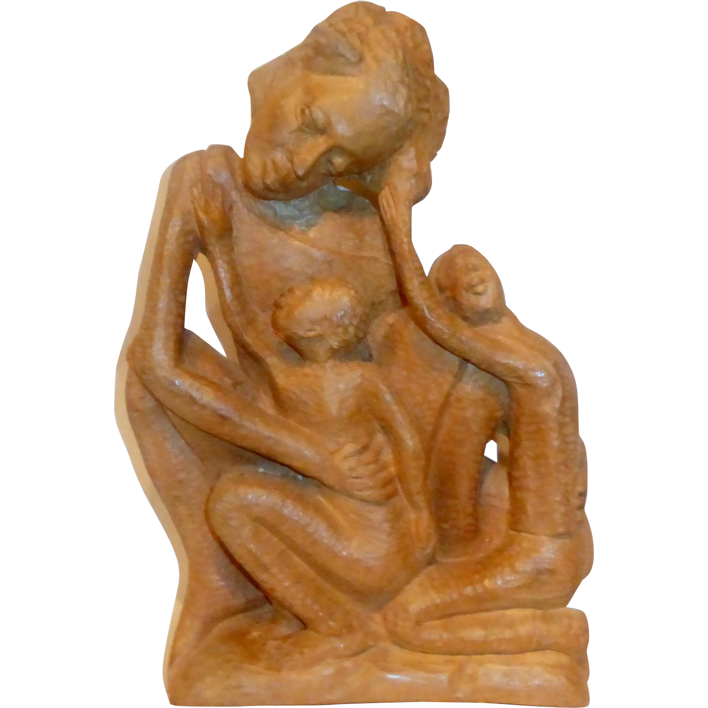 "Exquisite 12"" tall Solid Block Carved Chiseled Wood African Mother & Children"