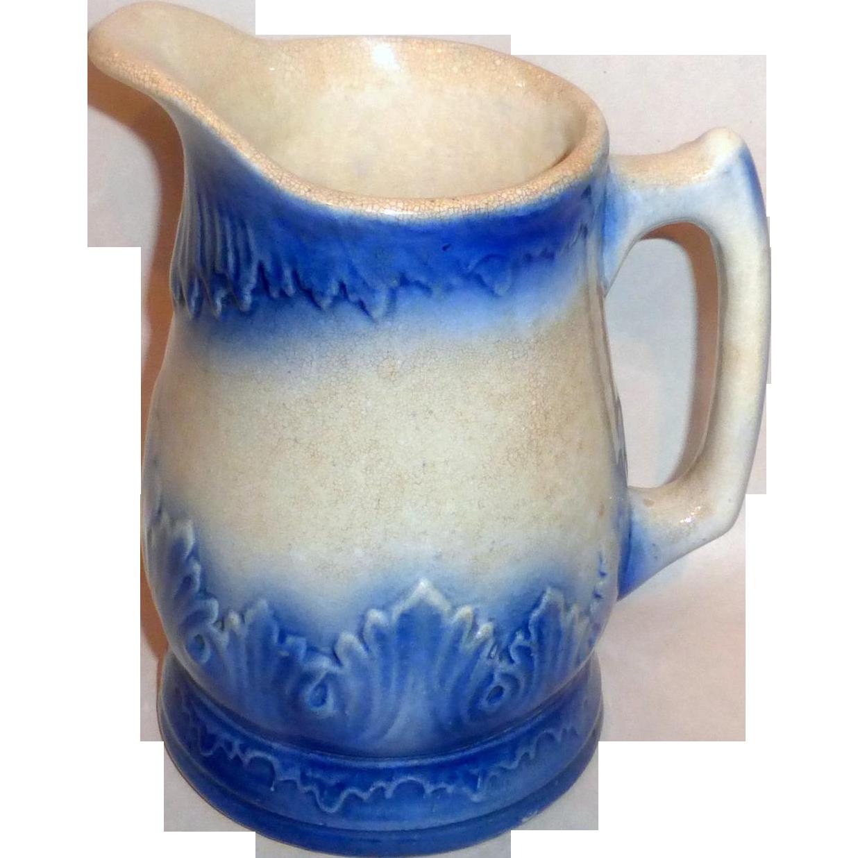 """19th century Flow Blue Stoneware 7"""" Milk Pitcher Raised Leaf Motif"""