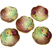 5 Porcelain Nut Dishes / Open Salt Dips Hand Painted Triple Legged Circa 1900