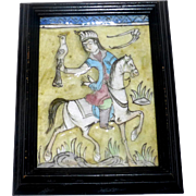 "Antique 8 1/2"" Framed Persian Molded Painted Qajar Tile Falcon Hunter on Horse"