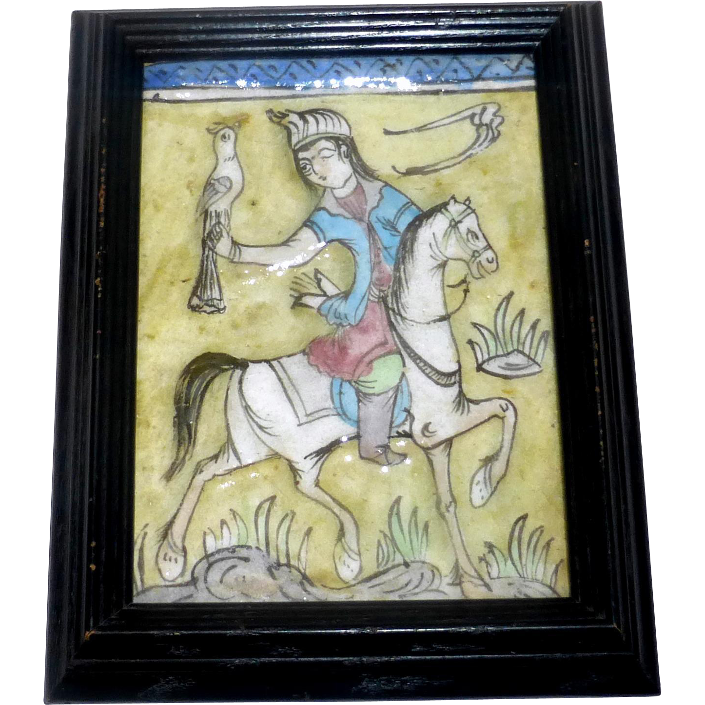 """Antique 8 1/2"""" Framed Persian Molded Painted Qajar Tile Falcon Hunter on Horse"""