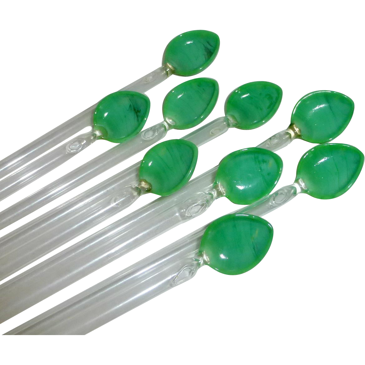 9 Vintage Glass Iced Tea Straws / Swizzle Sticks with Mint Green Leaves