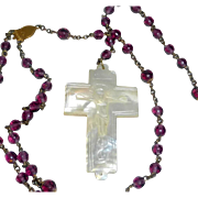 Vintage Hand Carved MOP Crucifix and Amethyst Glass Beads Catholic Rosary