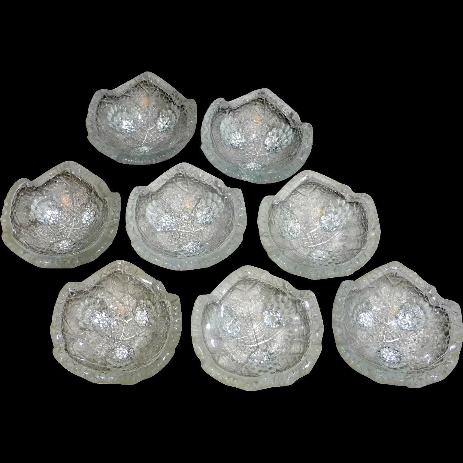 8 Vintage Glass Holiday Table Open Salt Dips 3 Legs Grape Leaf Clusters