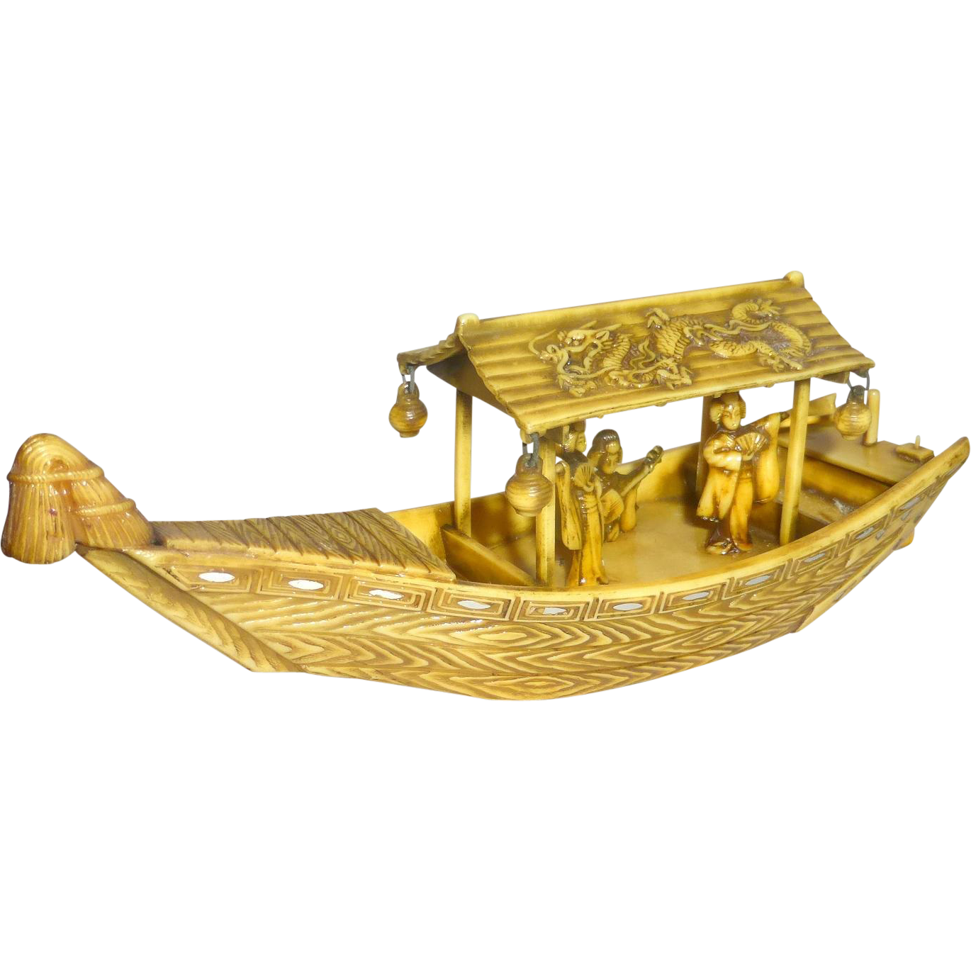 Vintage 1920's Celluloid Dragon Pleasure Boat Diorama with Singing Girls