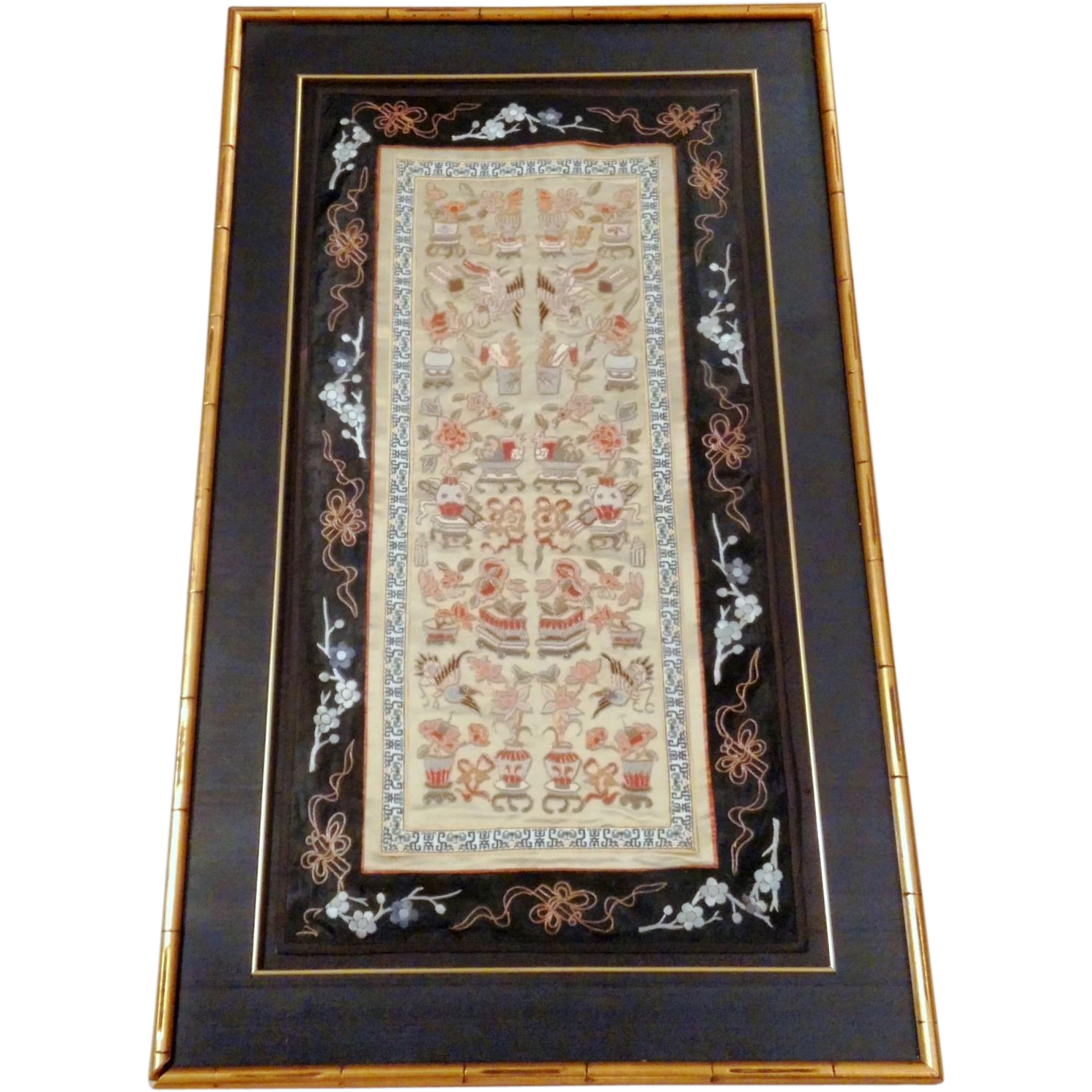 "Antique 1800's Framed Chinese Forbidden Stitch Embroidered Silk 32"" Panel"