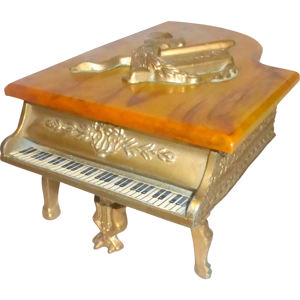 Vintage 1940's Harry Snider Bakelite and Metal Music & Trinket Box Grand Piano