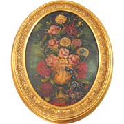 "Antique Victorian Darkly Floral Oil Painting on Canvas in 34"" Oval Wood Frame"