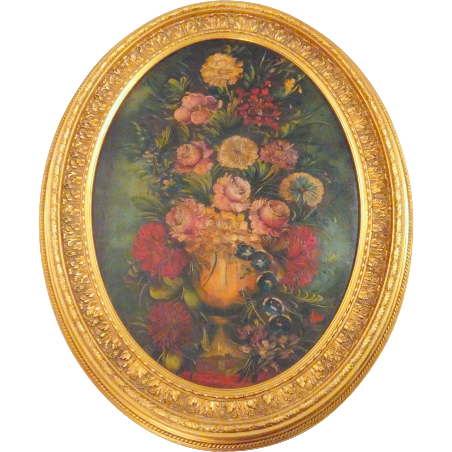 """Antique Victorian Darkly Floral Oil Painting on Canvas in 34"""" Oval Wood Frame"""