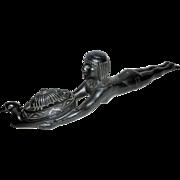 """Art Deco Egyptian Revival 14"""" long Nude Slave Offering Figural Incense Burner"""