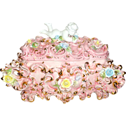 "Vintage Italian Pink Rococo Cream Cake Huge 16"" Soup Tureen Cherub Roses & Gold"