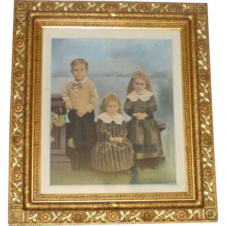 "Antique 1880's William Henry Kemps Painting 45"" Carved Wood Frame"