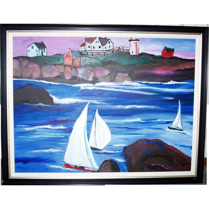 "THE SWEDISH REGATTA Alexandra Jacobs 54"" Framed Original Oil Painting"