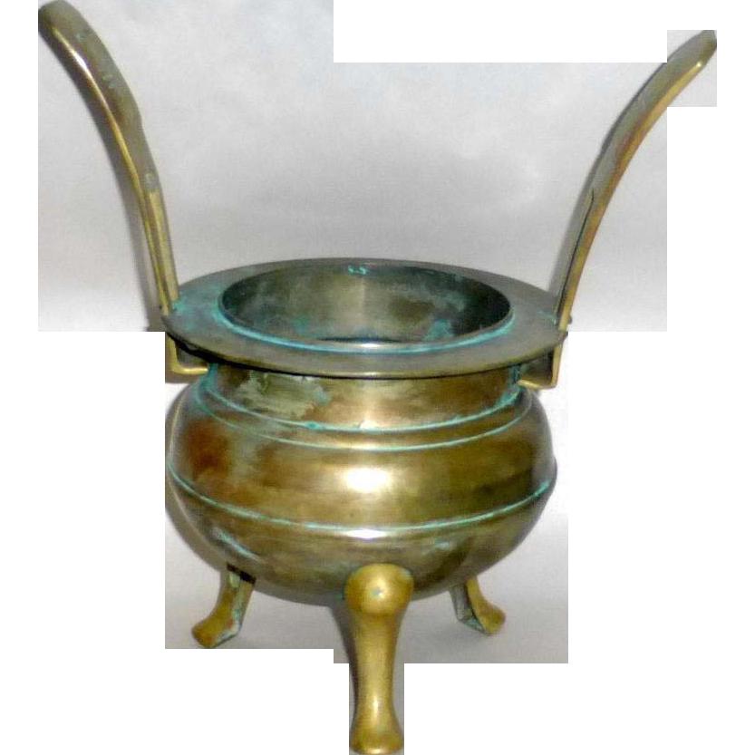 """Vintage Brass / Bronze 3 legged Large 11"""" Chinese Ding Incense Burner"""