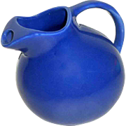 "Vintage Early Hall Pottery 6"" Cobalt Blue Tilt Ball Pitcher w/ Ice lip"