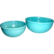 2 Vintage 1930 Red Wing Gypsy Trail Reed Turquoise Nesting Bowls