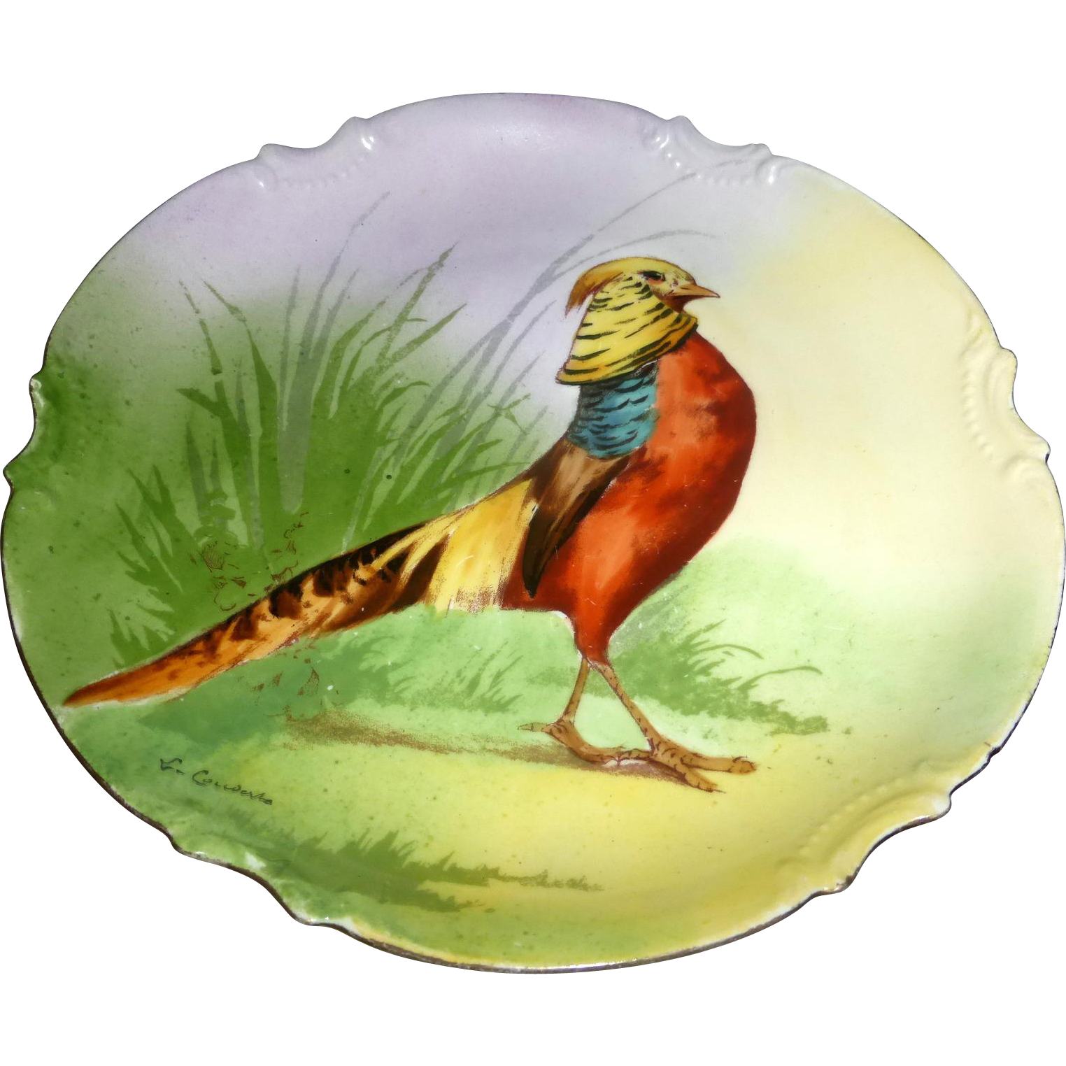 "Golden Pheasant ca. 1906 Limoges Coronet Signed & Hand Painted 10"" Game Bird Plate"