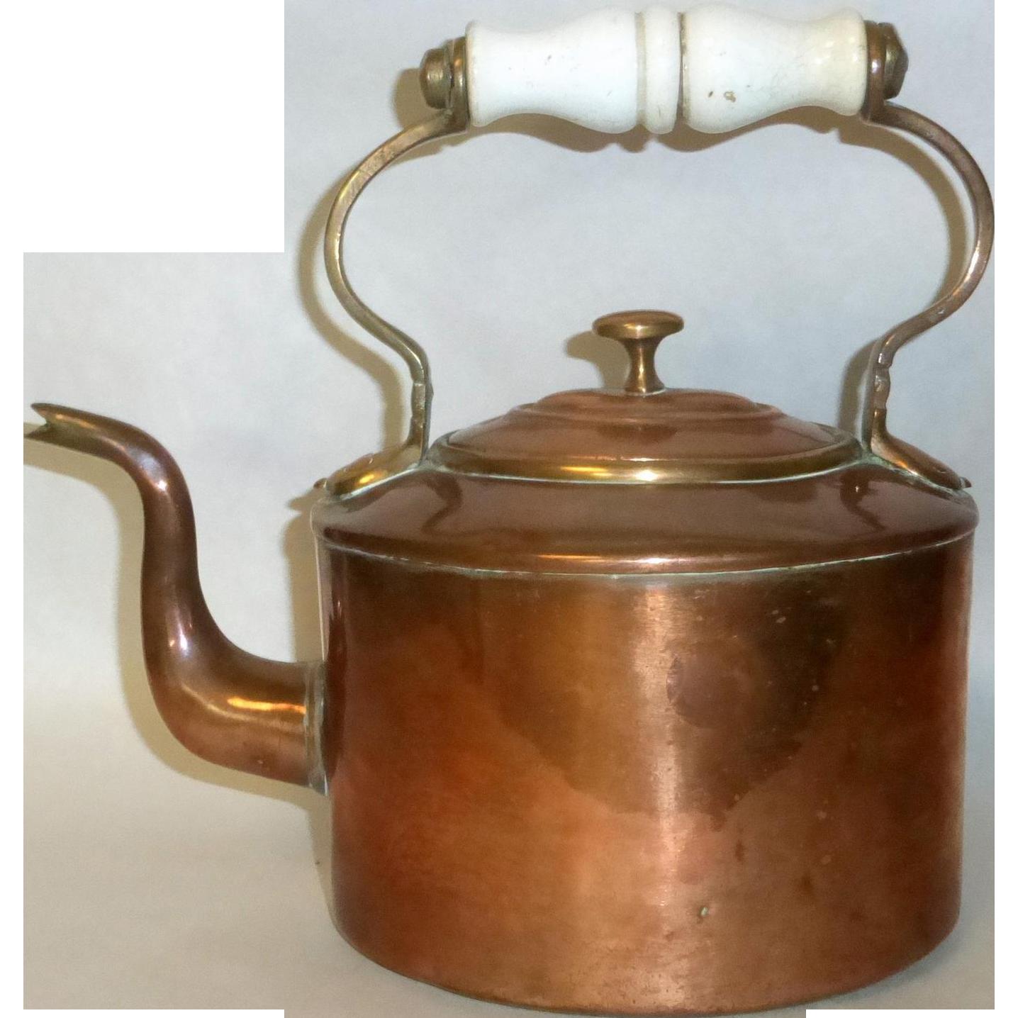 """Antique 8.5"""" Copper Tea Pot / Kettle Dove Tail Seam & Porcelain Handle"""