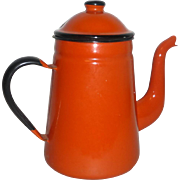 "Vintage 1960's Japan Orange Enamelware 9"" Covered Coffee Pot"