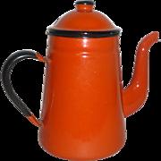 """Vintage 1960's Japan Orange Enamelware 9"""" Covered Coffee Pot"""