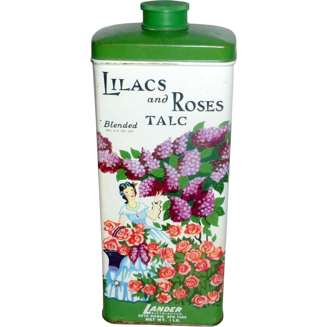 Vintage 1 lb Litho Tin of Lilacs & Roses Talc by Lander Clean Almost Full Can
