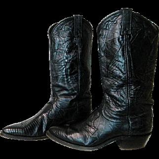 Dan Post Ladies Soft as Butter Black Lizard Leather Cowboy Boots sz 8