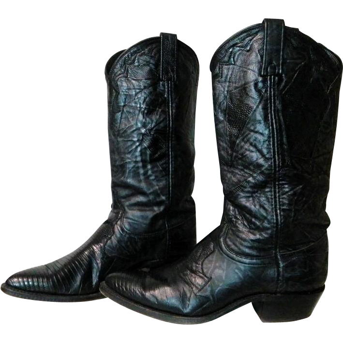 Dan Post Ladies Soft as Butter Black Lizard Leather Cowboy Boots sz 8