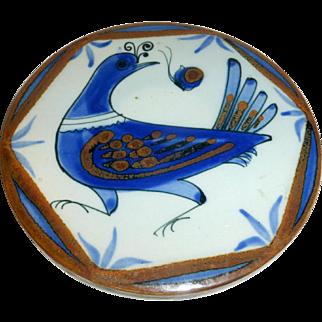 "Vintage Ken Edwards Stoneware Pottery 7"" Palomar Bird Trivet Tonala Mexico"