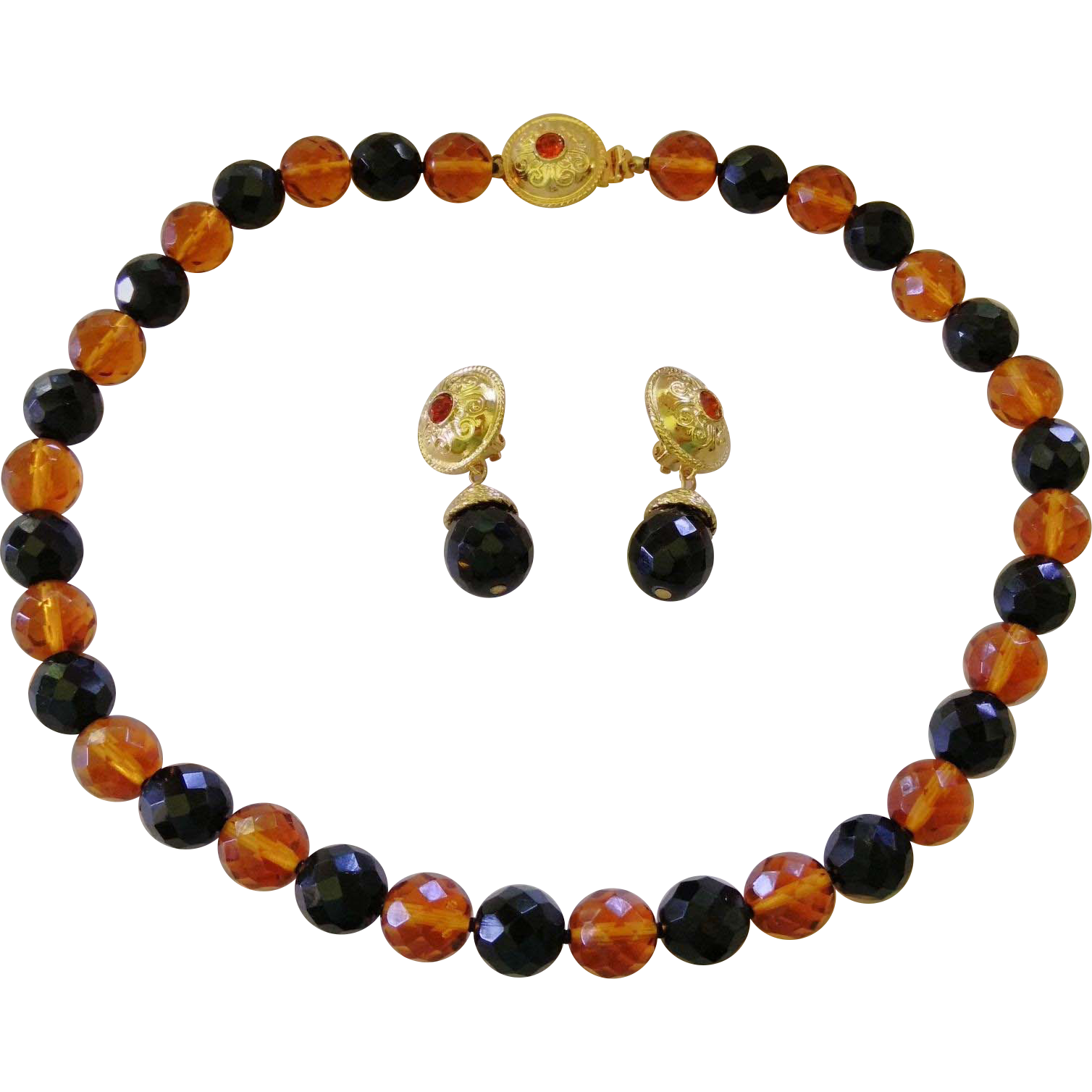 Gorgeous RJ GRAZIANO Glittery Amber + Black Glass Necklace & Earrings