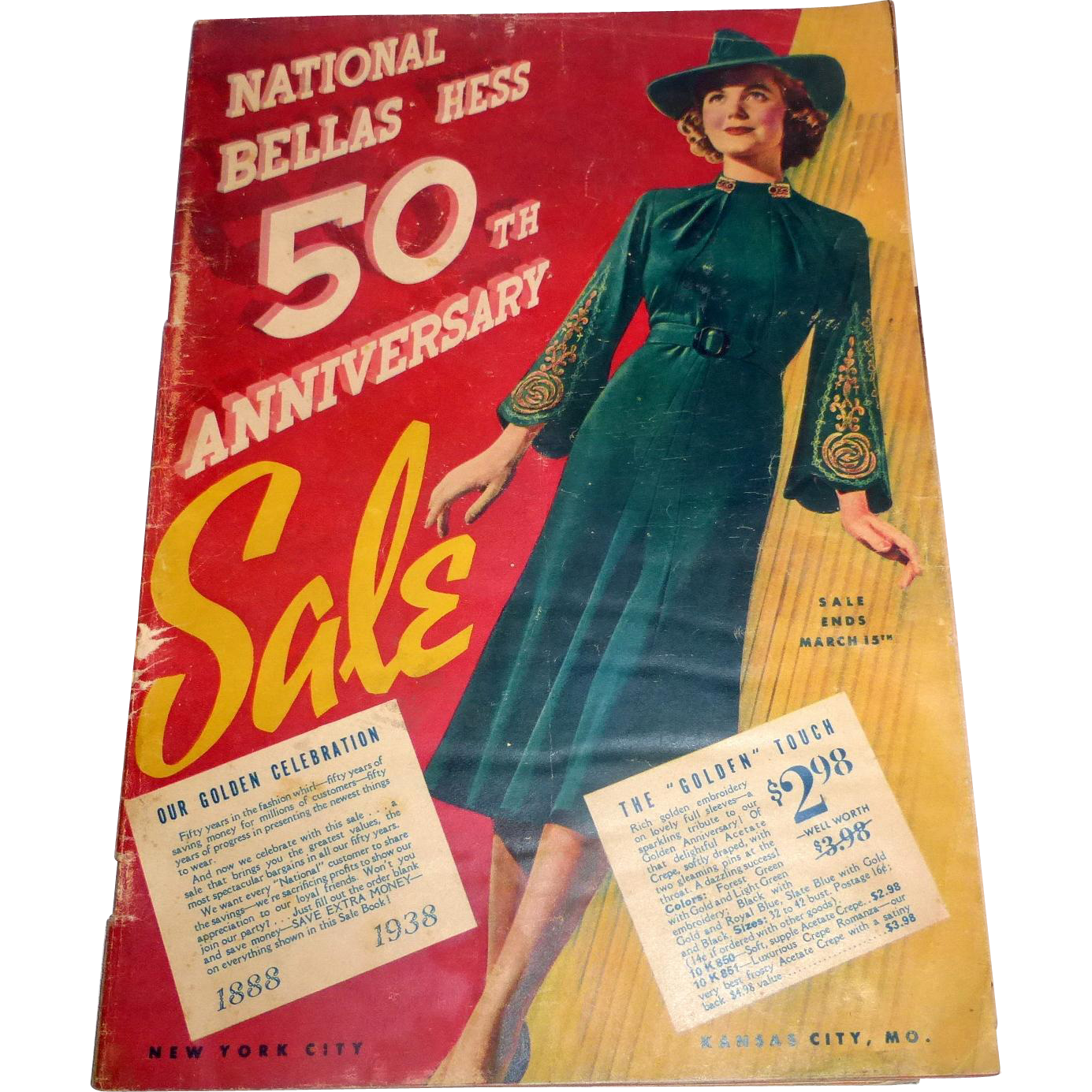 1938 National Bellas Hess 50th Anniversary Sale 71 page Fashion & Fabric Catalog