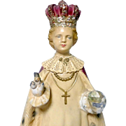 "Antique 12"" Plaster Hand Painted Holy Child Catholic Infant of Prague Statue"